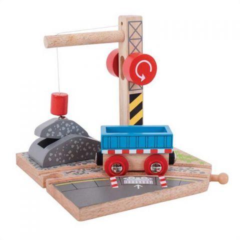 Bigjigs Rail dřevěná vláčkodráha - Jeřáb se štěrkem