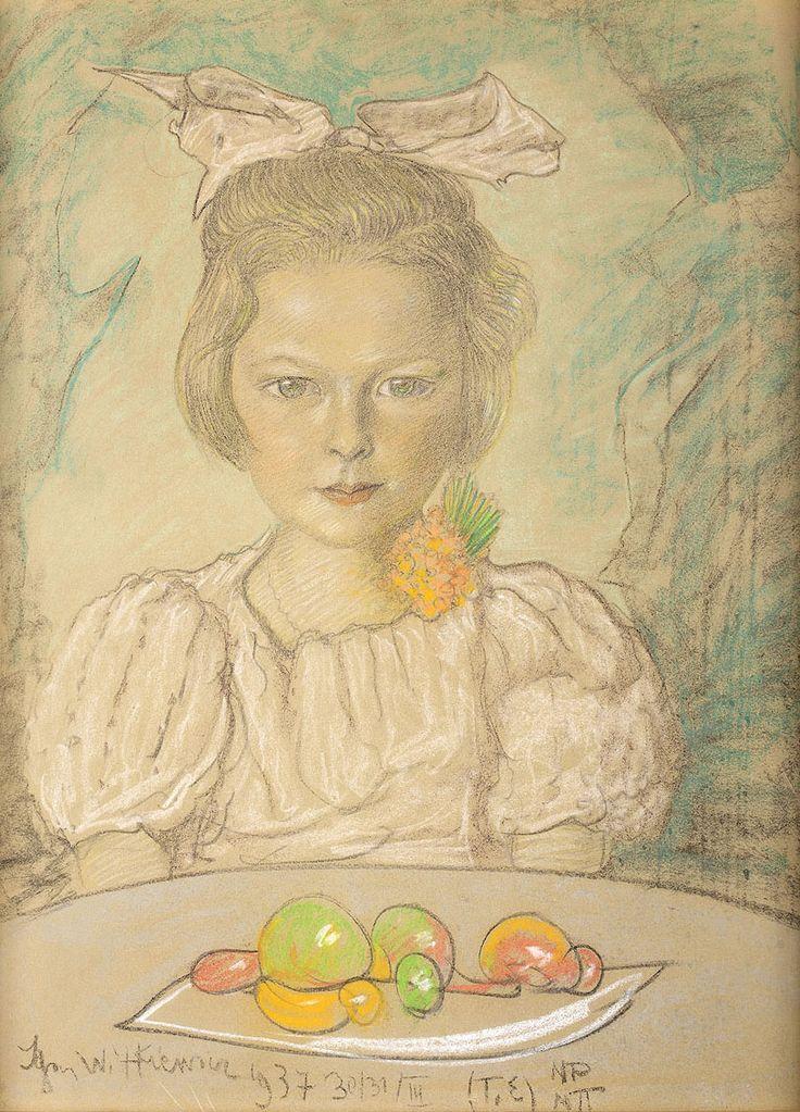 STANISŁAW IGNACY WITKIEWICZ (WITKACY 1885 - 1939)  PORTRET DZIEWCZYNKI   pastel, papier beżowy / 63,4 x 47,4 cm w świetle oprawy  sygn. l.d.: Ignacy Witkiewicz 1937 30/31/III (T.E) NP/NΠ