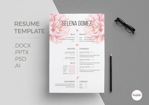 Elegant Floral Cv Template Cv Template Resume Design Template Resume Design Free