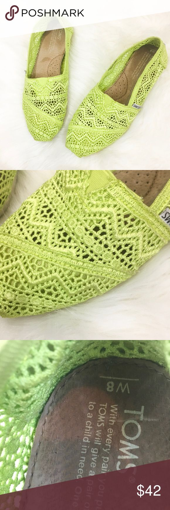 """Toms Crochet Classics In excellent used condition, Crochet slip on classics in Pantone's Spring 2018 color """"Lime Punch""""! Toms Shoes Flats & Loafers"""