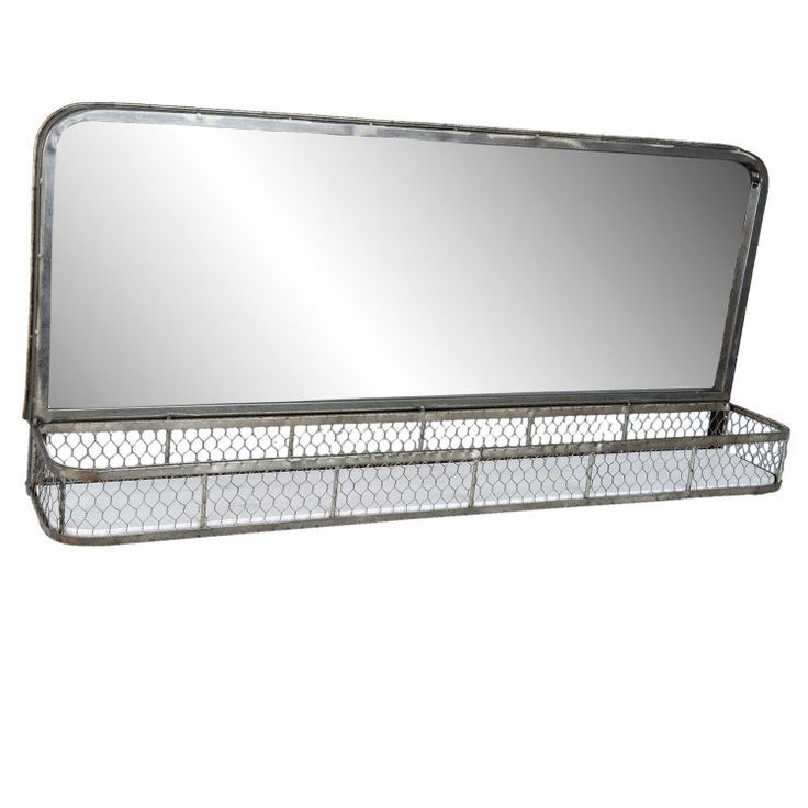 long mirror with wire wall shelf