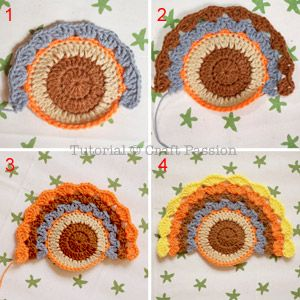 full middle circleCrochet Turkey Coasters And Ornaments   Free Pattern & Tutorial at CraftPassion.com6 - crochet turkey tail