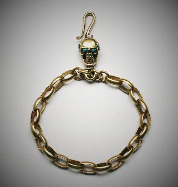 Skull Brass Hook Key Chain/Key Holder Spooky Steampuck by Mygoth (GBK009)