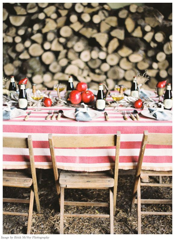 Love the table setting and the log background.