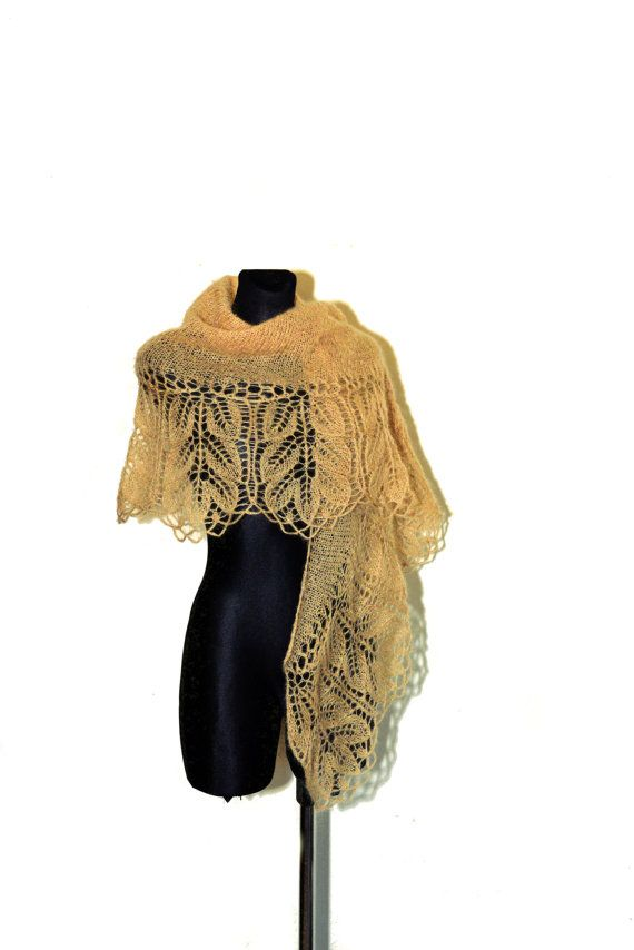 Golden Hand Knit Lace Shawl Knit Lace Wedding Shawl by aboutCRAFTS