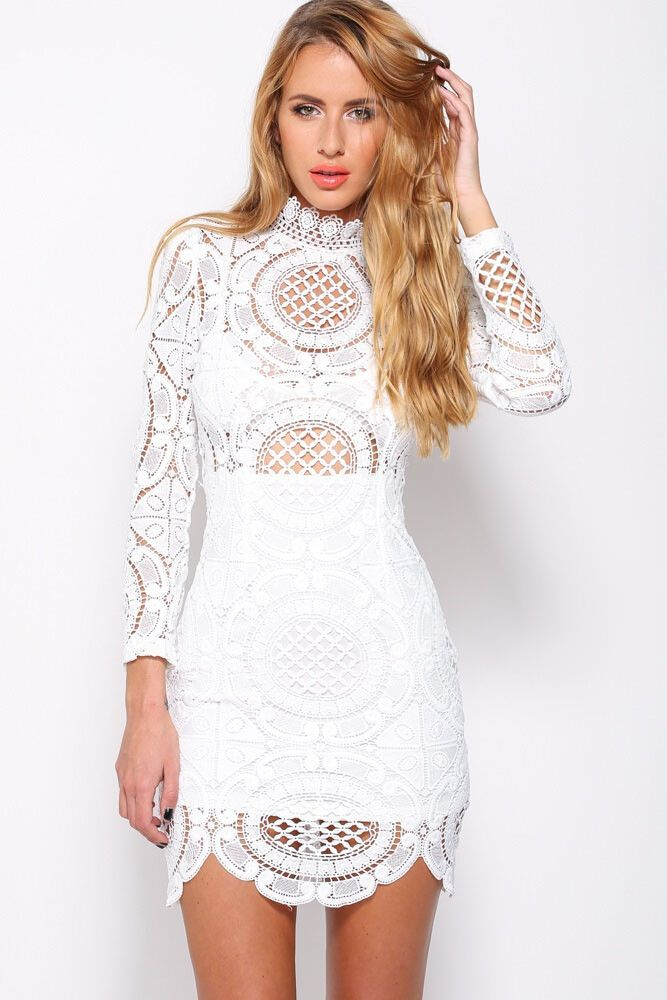 White Crochet Lace High Neck Mini Dress LAVELIQ Material: Polyester+Spandex Size: One Size Color: White Style: Bohemian, Cute, Sexy Occasion: Autumn, Party Dresses Pattern: Solid Neckline: Turtleneck