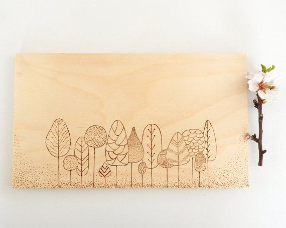 Modern forest painting. Minimal trees artwork. Wood burning, pyrography art  by DecorAsylum