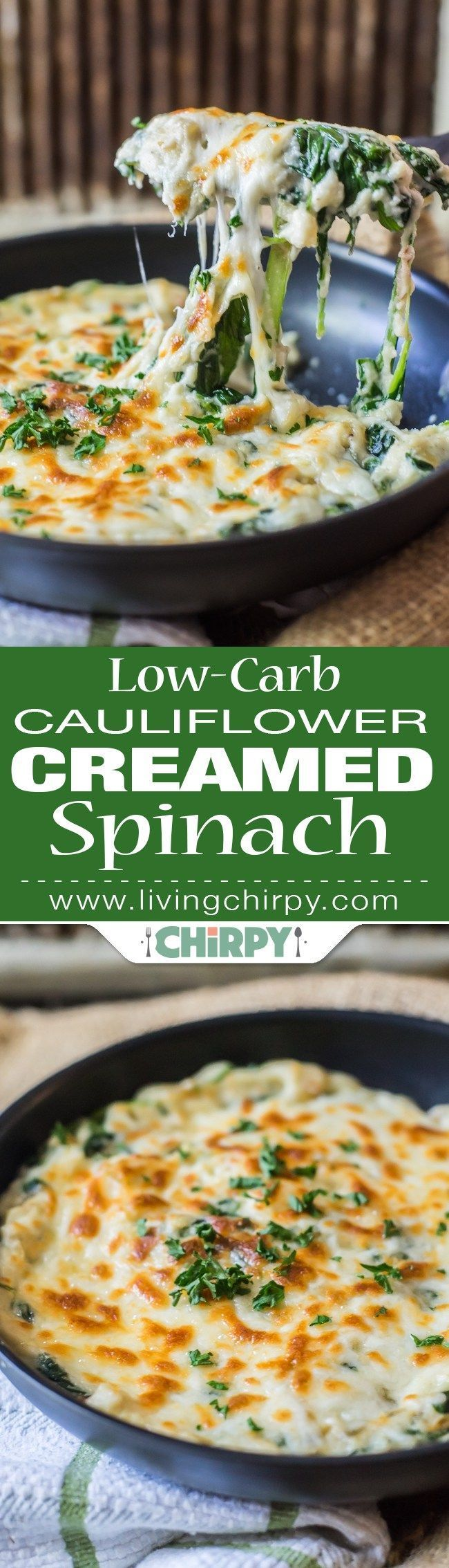 Low-Carb Cauliflower Creamed Spinach -> a perfect low-carb vegetable side dish. easily trick the kids & DH into eating veggies!
