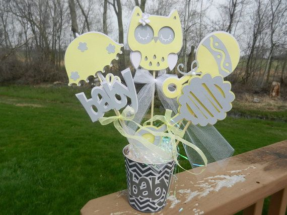 Baby shower table decoration owl gray yellow and white chevron pail on etsy baby - Baby shower chevron decorations ...