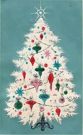 Vintage Christmas Card White And Aqua Tree