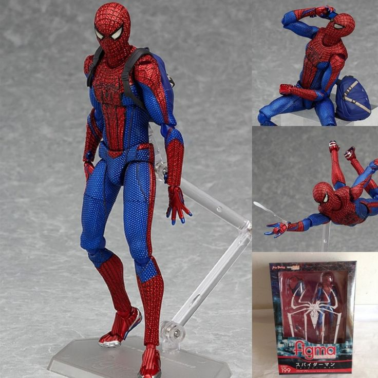 J.G Chen 2015 New Hot Spiderman The Amazing Spiderman Figma 199 PVC Action Figure Collectible Model Toy 15cm