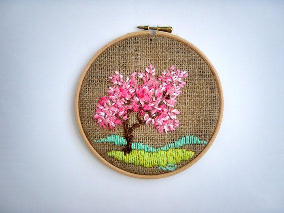 Art Textiles Tapestry Embroidered Miniature Handmade Hoop Art  Fiber art Modern art Tree spring