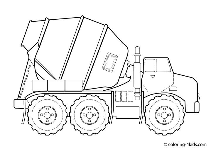 Concrete truck Transportation coloring pages for kids, printable