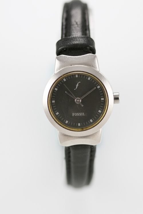 Fossil F2 Women Watch Gray Stainless Silver Water Resistant Leather Black Quartz