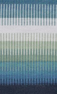 Claire Caughey Most submitted a piece from her series of weavings exploring luminosity. This one certainly worked. The bands of deep blue bordering krokbragd weaving set off the brightness of the interlocking narrow stripes within. The shades of turquoise and green almost glow.