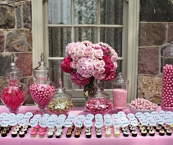 Get a snack while you find your table seat - Bridal Shower, Georgetown Cupcakes, Tea Party Theme, Pink, Cupcakes || Colin Cowie Weddings