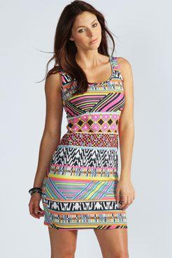 Jasmine Multi Print Bodycon Dress