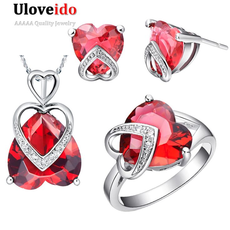 Find More Jewelry Sets Information about Ruby Amethyst Heart Love brincos vermelhos colar e anel de casamento conjuntos ,2016…