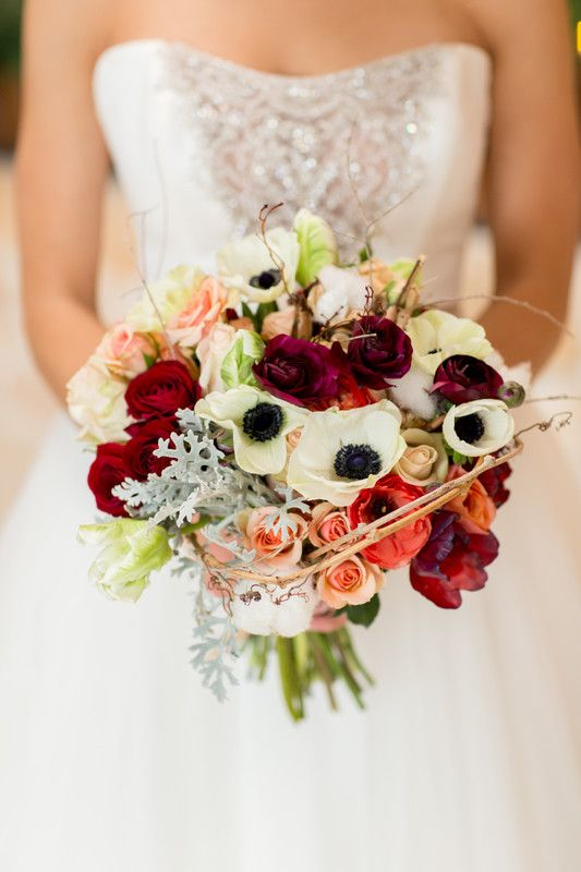 Unique, elegant anemone wedding bouquet with red + pink roses {@Orchidprincess_}