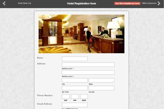 Heres A Sample Of Hotel Registration Form Made By One Our Clients Using Form2Go Get Up To 3 Reports Perform In Free Online Creation