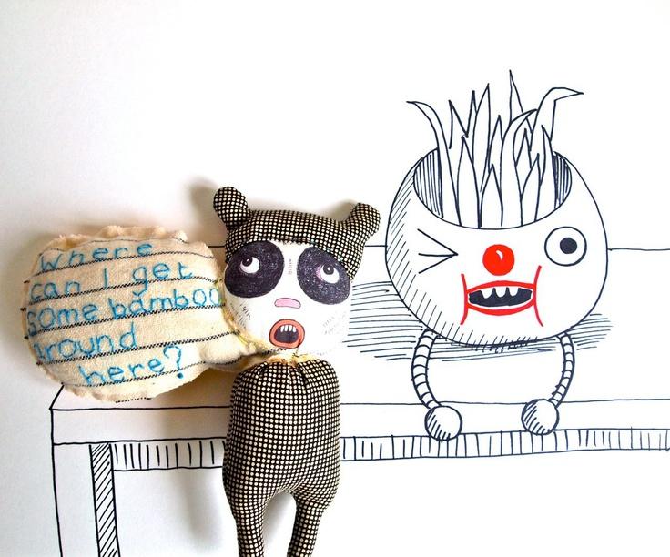 Cloth art doll, Panda, speech bubble, printed cotton, Pete the Panda. £35.50, via Etsy.: 35 50, Clothing Art Dolls, Pandas Speech, Speech Bubbles, Cloths, Bubbles Prints, Cloth Art Dolls, Dolls Pandas, Dolls Ideas