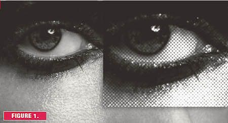 Single colour halftone image in Black Ink. From distance and up close.