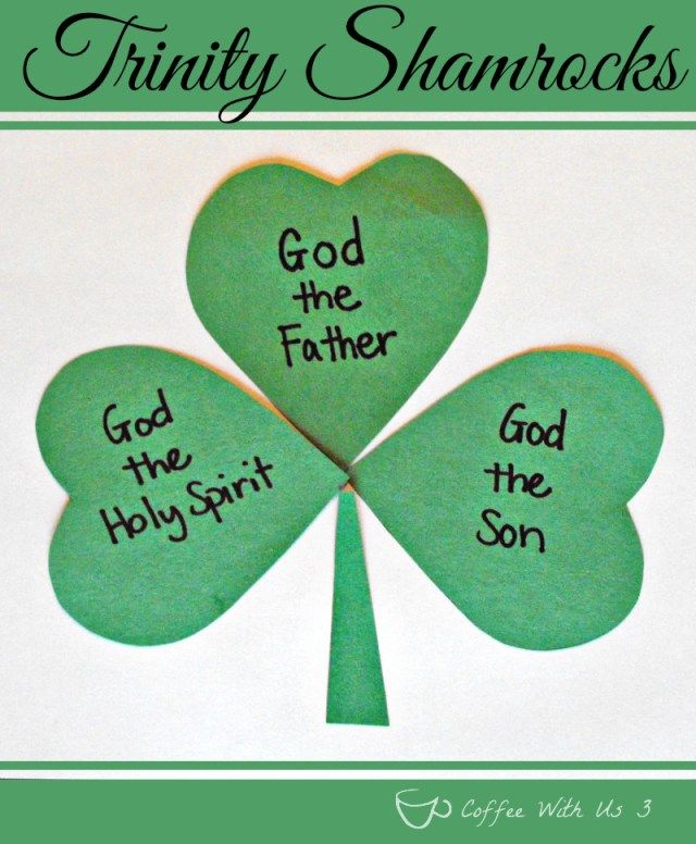 Trinity Shamrocks Preschool Craft- Teaching the Trinity of God through shamrocks