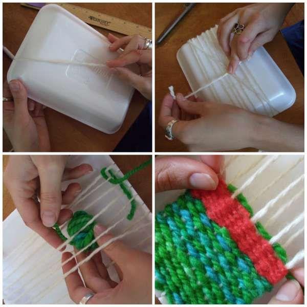 Métier à tisser avec un emballage en polystyrène - 14 Façons géniales de réutiliser les emballages styromousse