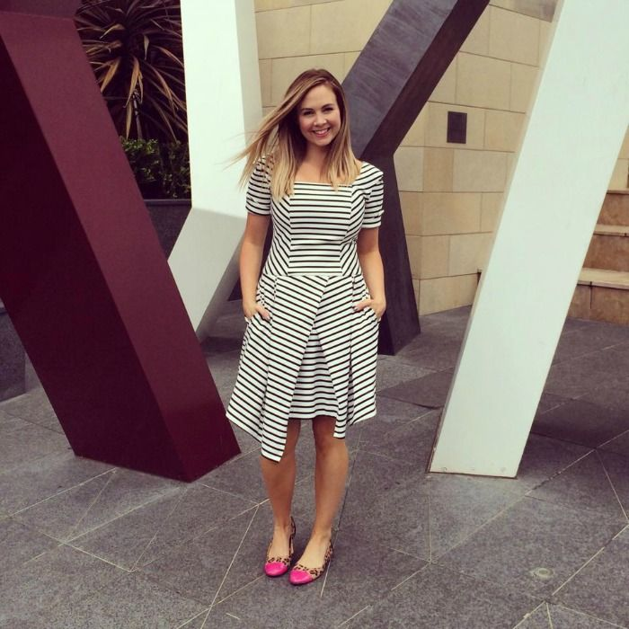Liza Emanuele striped dress and Target patent and leopard ballet flats | soniastyling.com