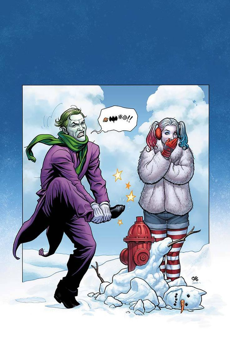 Comics and Other Cool Stuff — Wintertime Harley and Joker by Frank Cho.