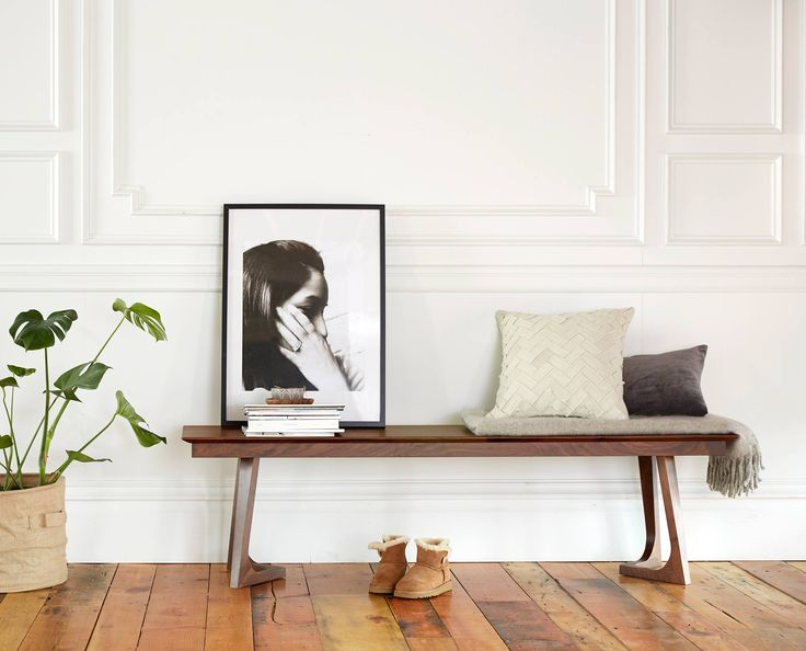 Scandinavian Designs - The perfect dining room or entry way accessory, the Cress bench is crafted from solid American walnut. The long, slender design brings emphasis to the detailed, angled legs.