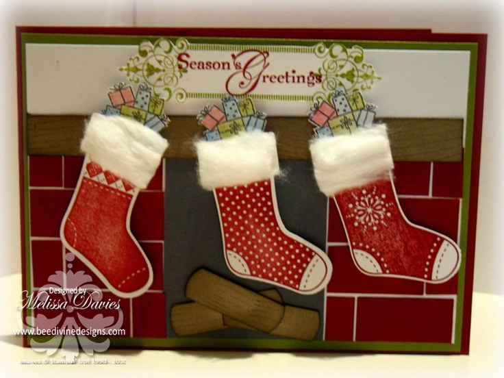 Using stocking builder punch, trimmed the stockings with  cotton wool balls, and added presents in the top from loads of love access.