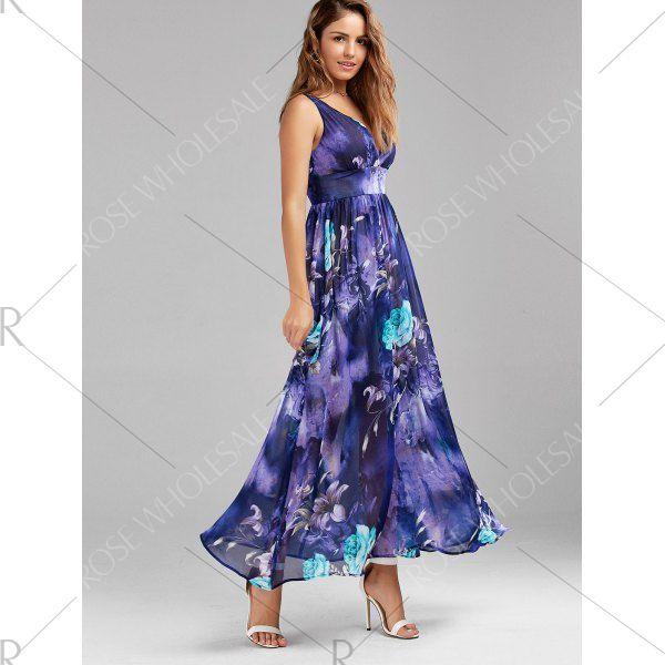 V Neck Floral Print Empire Waist Maxi Dress - L Mobile