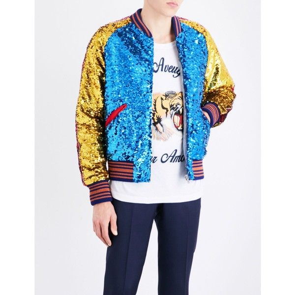 Gucci Striped-trim sequinned bomber jacket (€3.630) ❤ liked on Polyvore featuring men's fashion, men's clothing, men's outerwear, men's jackets, mens long bomber jacket, mens bomber jacket, mens fur collar bomber jacket, mens striped jacket and mens zipper jacket