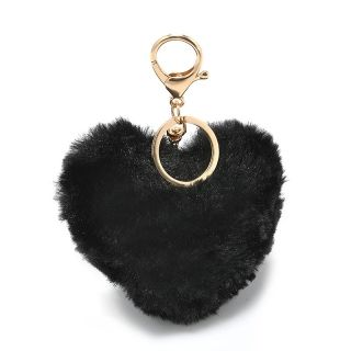 Black Heart pom-pom kulcstartó és táskadísz