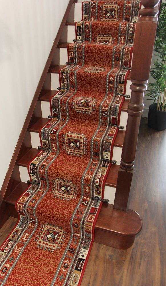 Red Aztec Tribal Design Very Long Hallway Runner Rug Cut To Measure Stair Carpet #TheRugHouse #Tribal