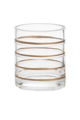 Votiveholder Copper & Clear Votivehållare i glas med ränder i koppar och frostat.   Mått: ca höjd 80, b 70, d 70mm