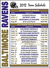 2012 Baltimore Ravens NFL Football Schedule Magnet