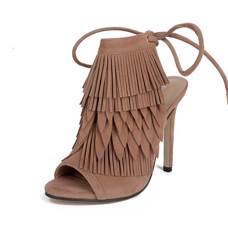 Rumbidzo 2017 New Super Star Gladiator High Heels Sandals Women Fringe Lace-up  Ankle open toe Shoes Woman Open Toe Sandals
