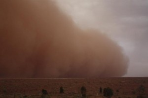 Red Dust country can be wild and this is a great example of a dust storm in Red Dust country.