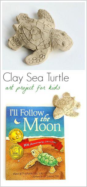 Ocean Art Activity for Kids: Make sea turtles using clay! ~ BuggyandBuddy.com