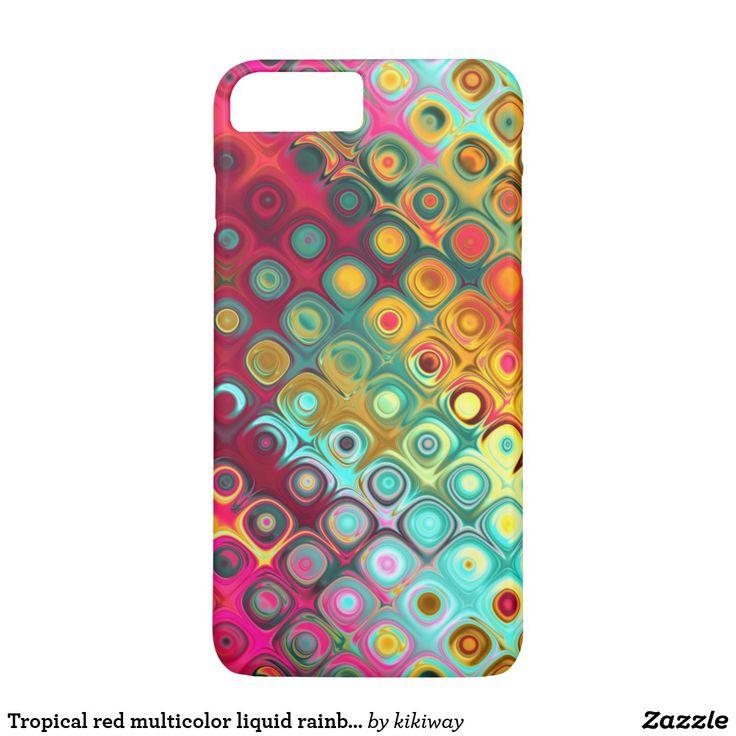 Tropical red multicolor liquid rainbow funky iPhone 7 plus case