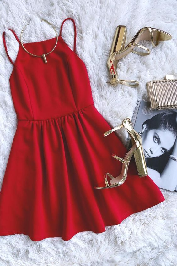 A sweet silhouette and perfect fit make the Oui Oui Red Backless Skater Dress our 'fit of choice! Medium-weight stretch knit is formed to spaghetti straps, and a backless princess-seamed bodice with squared-off neckline. Fitted waist and skater skirt. Hidden back zipper/clasp. #lovelulus