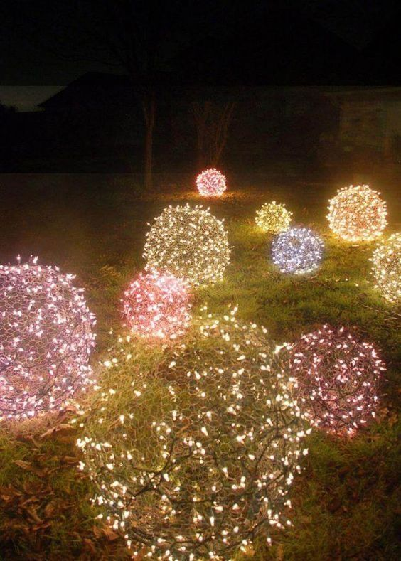24 Make Christmas Light Balls for Frontyard Ideas Exterior