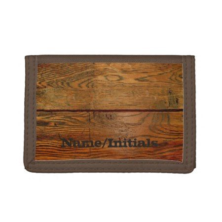 Faux Oiled Wood Plank Personalized Custom Tri-fold Wallets - click to get yours right now!