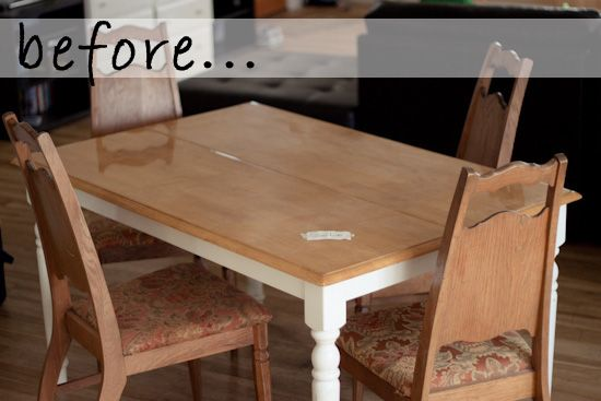 Strawberry Chic: DIY Tuesday: Before & After Dining Table & Chairs
