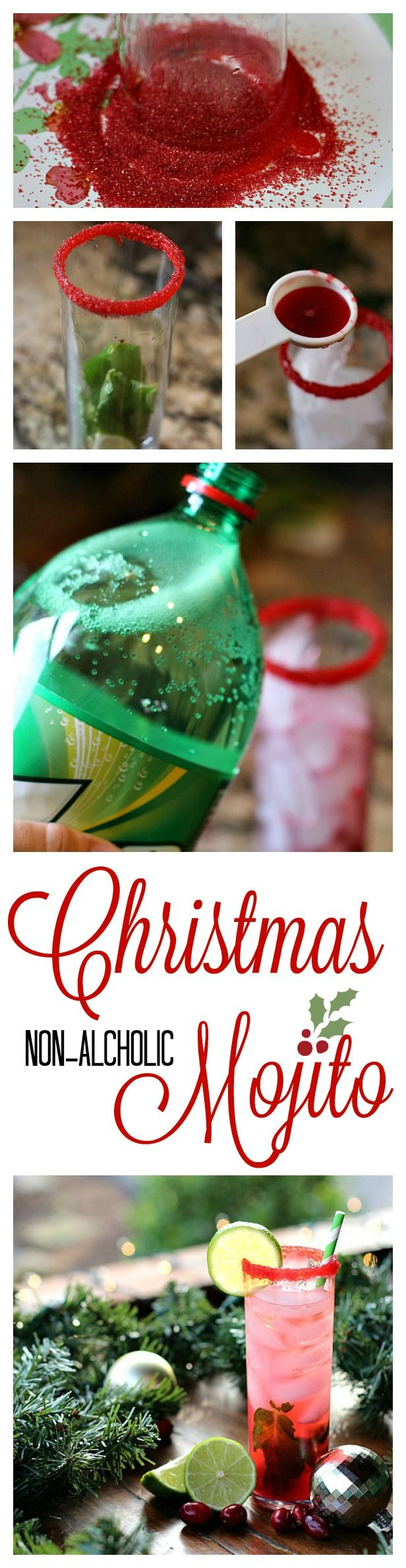 Don't miss our Non Alcoholic Christmas Mojito!  It's perfect for all your holiday celebrations! #ad