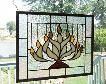 Menorah stained glass panel window Hanukkah Chanukah by SGHovel, $85.00