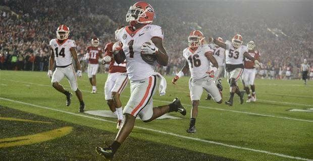 The winning touchdown made by the amazing Sony Michel! Rose Bowl Game 1/1/2018. Go Dawgs!!