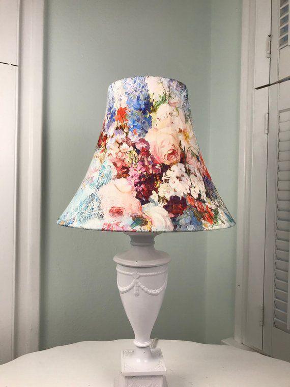 Floral Lamp Shade Boho Lamp Shade Eclectic Lamp Shade Shabby Chic Lamp Shade Linen Lamp Shade Boho Lamp Linen
